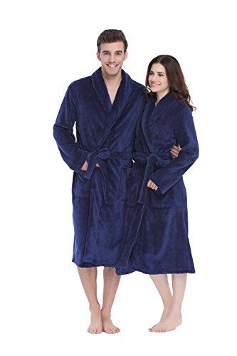 XMASCOMING Women's & Men's Coral Fleece Gown Housecoat Bathrobe Navy Size S
