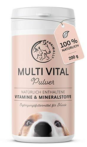 Annimally Vitamine für Hunde I Multivitamin Komplex Pulver für Hunde mit Mineralien 200g I Mit Gerstengras, Spirulina und Bierhefe I Über 17 wertvolle, rein natürliche Vitamine & Mineralien