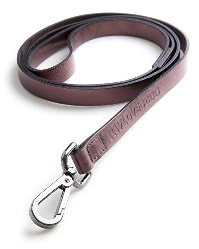 Original Lanyards® FOIL Leash Laisse en cuir véritable pour chien Aubergine Longueur 120 cm Largeur 1,5 cm