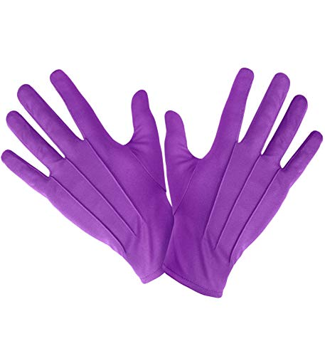 shoperama Kurze Handschuhe Lila mit Ziernähten Damen Herren für Joker oder Clown Kostüm-Zubehör
