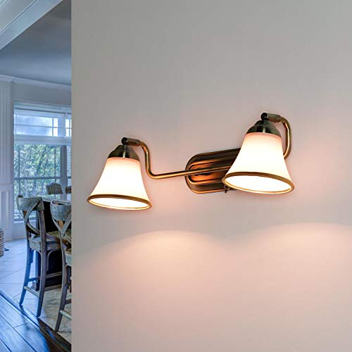 lámpara de baño de pared art nouveau lámpara de baño de cristal giratorio en bronce lámpara de espejo 2xE14 cuadro de la sala de estar