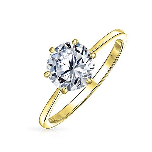 Simple 1.25CT 6 Prong brillante corte AAA CZ solitario compromiso anillo de participación de banda fina 14K chapado en oro 925 plata de ley