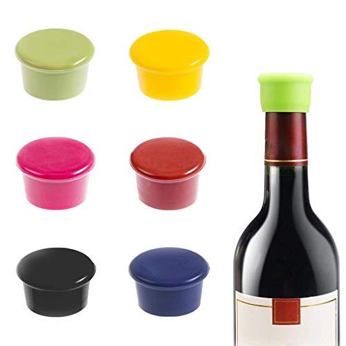 MELARQT Weinflasche Caps, Farbe Silikon Kronkorken, Weinflasche Caps Bier Sealer Abdeckung, Reusable, Zur versiegelten Konservierung von Wein, Champagner, Bier und Getränken - 6 Stück