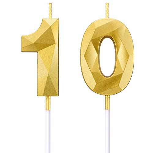 BBTO 10th Birthday Number Candles 3D Diamond Shape Cake Candles Number 10 Cake Topper Decoration for Birthday Wedding Anniversary Celebration Supplies, Gold