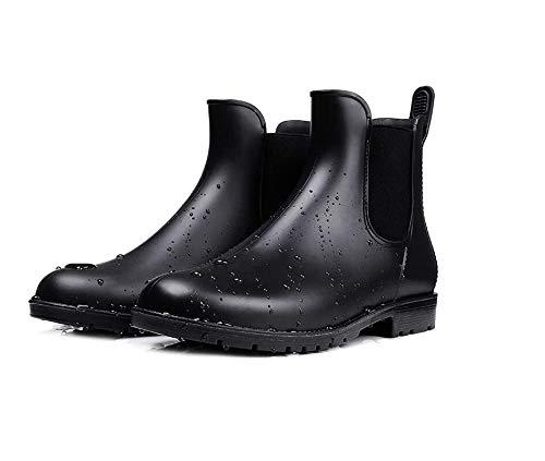 Chelsea Women's Short Non-Slip Rain Boots, Waterdicht sneeuw en modder, Elastic Martin Adult overschoenen,Black,S