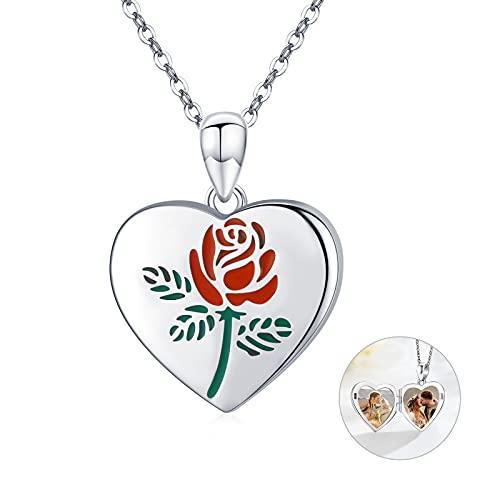 Collar con medallón de corazón con diseño de rosas y flores para fotos de plata de ley 925, para mujeres y niñas