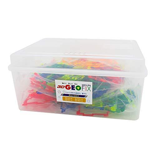 【正規品 メーカー限定増量セット】3D GEOFIX ジオフィクス(ジオシェイプス) ボリュームセット クリスタルカラー 収納BOX付き 4歳 5歳 6歳 小学生 知育玩具 図形 ブロック おもちゃ GE-SET-007