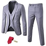 MYS Men's 3 Piece Slim Fit Suit Set, One Button Solid Jacket Vest Pants with Tie Light Grey
