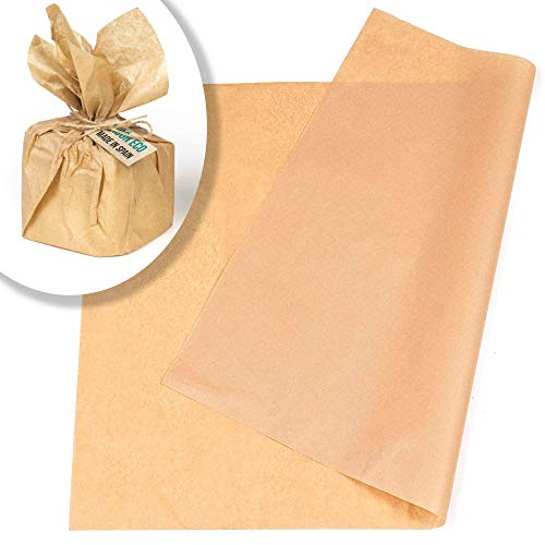 Papel seda kraft A3,fino, 60 hojas, para envolver regalos, manualidades, papel manila marrón crema claro.