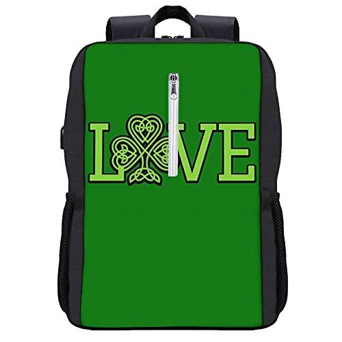 Love Celtic Knot Laptop Backpack Women Men College Backpacks Bookbag Backpack Book Bag Fashion Back Pack Anti Theft Travel Backpacks with Charging Port fit 15.6 Inch Laptop