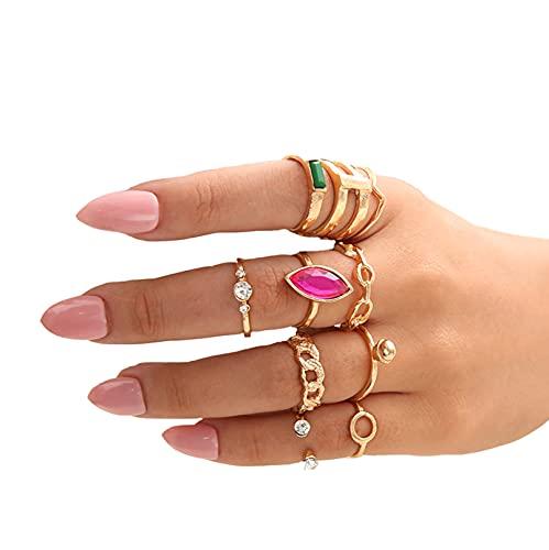 10 Stück Damen Ring, Strass Aushöhlen Schmuck Damen Fingerring Set, Ring Set Stapelbar Geschenk An Sie,Gold