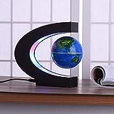 C Forma Negro Azul LED Mapa del mundo Decoración del hogar Levitación magnética electrónica Globo flotante Antigravedad LED Luz de noche El mejor regalo