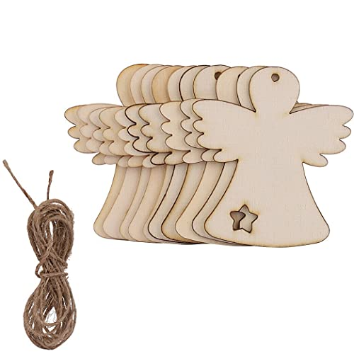 HoitoDeals Bola de madera MDF colgante en forma de ángel para árbol de Navidad, decoración en blanco (10 unidades)