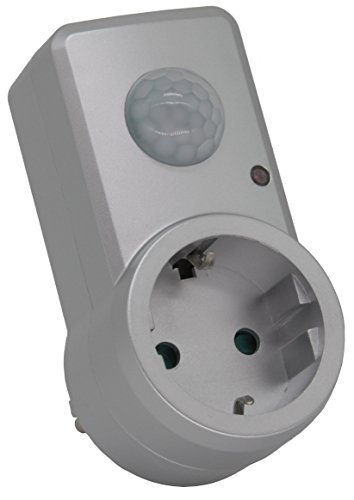 Entre Conector Adaptador Conector con Detector de Movimiento (120°, Alcance de 9m, 230V/1200W, Plata