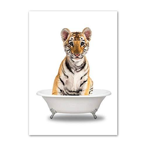 JWJQTLD Impresión En Lienzo Animal Bañera Arte De La Pared Pintura En Lienzo Carteles E Impresiones Imágenes De La Pared del Inodoro Decoración De La Habitación del Bebé, Regalo De