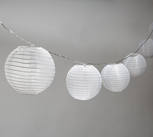 "Strand of 10 Lantern String Lights, Connectable, 8"" White Jumbo Lanterns, Warm White LEDs, Water Resistant, Indoor/Outdoor Use, 25 Feet, Expandable to 100 LEDs, UL Listed"