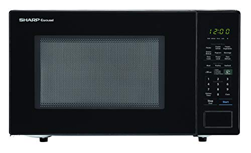 SHARP Black Carousel 1.4 Cu. Ft. 1000W Countertop Microwave Oven (ISTA 6 Packaging), Cubic Foot, 1000 Watts (Renewed)