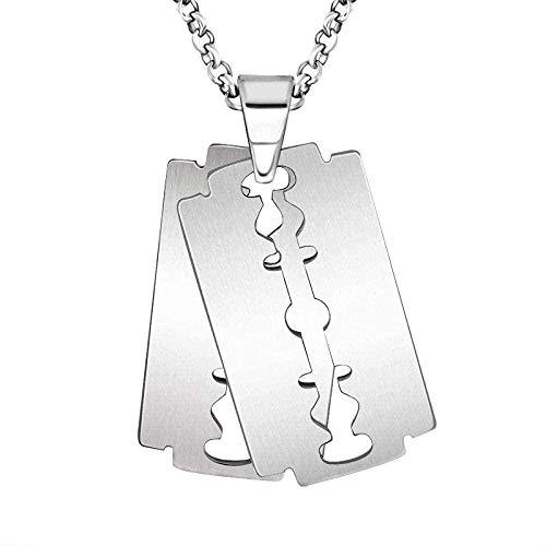 LKLFC Collar para Mujer Collar para Hombre Colgante Moda Retro Colgante Simple Collar de Titanio Hoja de Acero Personalidad Colgante Creativo Hombres Hombres Colgante Collar Regalo para niñas Niños