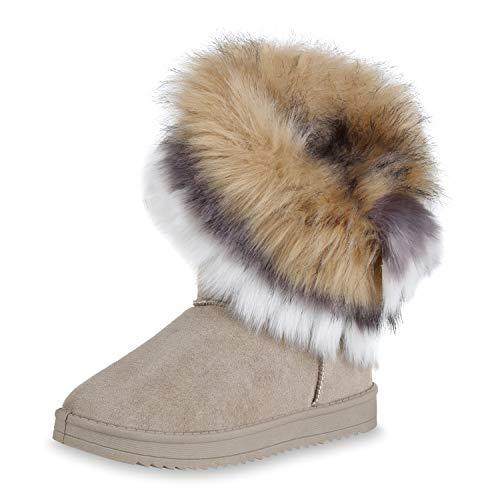 SCARPE VITA Damen Stiefeletten Schlupfstiefel Warm Gefütterte Winter Stiefel 171802 Khaki 38