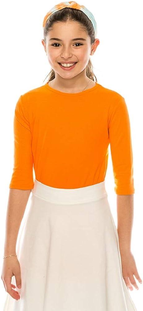 EDENNAOMI Girls Basic T Shirt – 3/4 Sleeve Crewneck Solid Casual Classic Modest Layering Tee Tops Tshirt