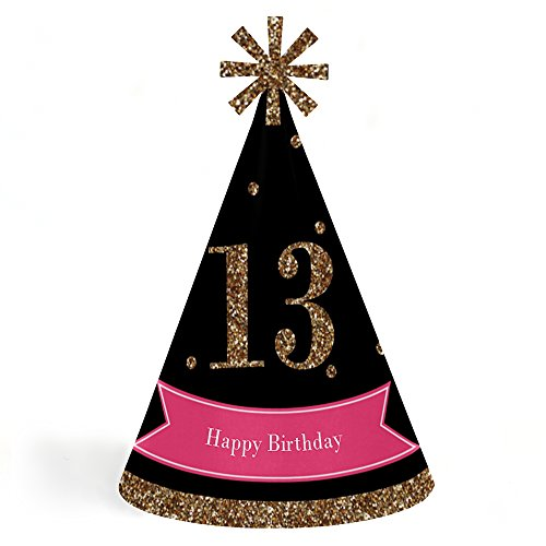 Chic 13th Birthday - Pink, Black and Gold - Cone Happy Birthday Party Hats for Kids and Adults - Set of 8 (Standard Size)