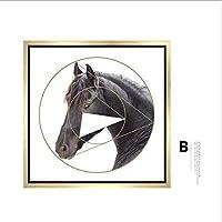 (B)モデルルーム馬の頭飾りは北欧ソファの背景の壁にはポーチが絵画壁掛け絵画絵画現代のミニマリストリビングルームハンギング絵画(数量:1) YANG1MN (Size : 50*50cm)