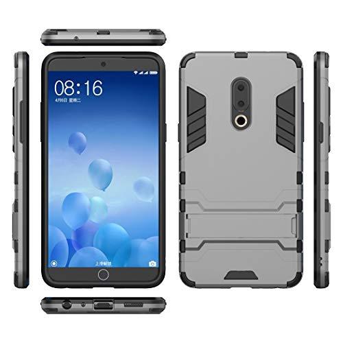 Ycloud Rüstung Hülle für Meizu 15 Plus Smartphone, Dual Layer Hybrid Heavy Duty Harte PC Handyhülle mit Ständer stoßdämpfend Rückseite Hülle (Grau)