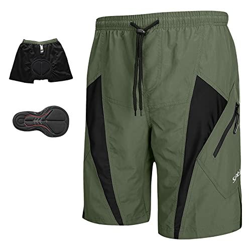 Santic Pantalones Cortos de Ciclismo para Hombre, Pantalones Cortos de MTB para Hombre con Almohadilla de Asiento 4D de Secado Rápido