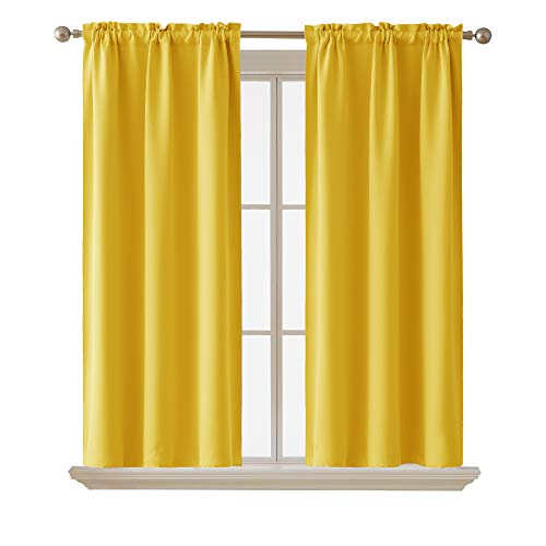 Deconovo Room Darkening Curtain ThermaInsulated Blackout Curtains for Kids Room MelloYello38 x 63 Inch 2 Panels