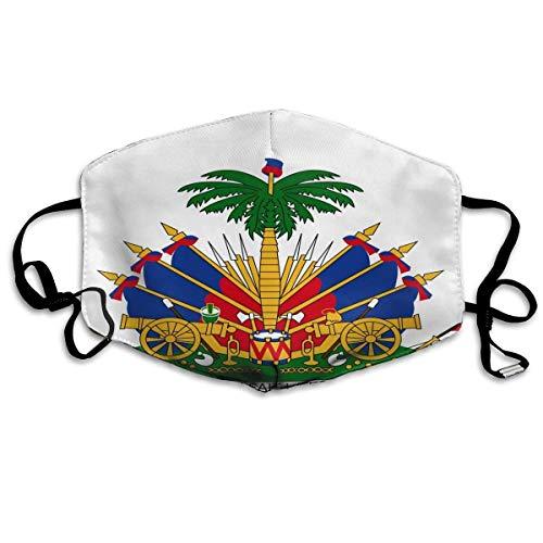 Fascia per il viso con tubo di copertura completa, unisex, protezione UV, collo a polsino, con stemma di armi di Haiti, colore: bianco