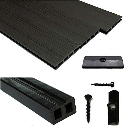 WPC Terrassendiele Komplettset WoodoBasic in anthrazit beinhaltet WPC Diele 3 m lang, Unterkonstruktion, Verbindungsclipse, Anfang- und Endclip (20 m²)