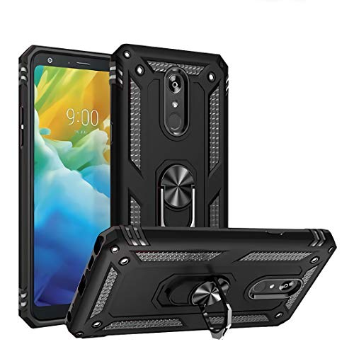 Newseego Compatible with LG Stylo 5 Case, LG Stylo 5 Plus/LG Stylo 5V / LG Stylo 5X (6.2 Inch) Armor Protective Case with Metal Ring Holder Kickstand Shockproof Military Grade Hard Cover - Black