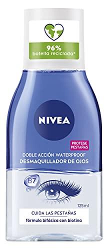 NIVEA Desmaquillador de Ojos Doble Acción (1 x 125 ml), líquido desmaquillante para el contorno de ojos sensible, limpieza facial rápida y suave