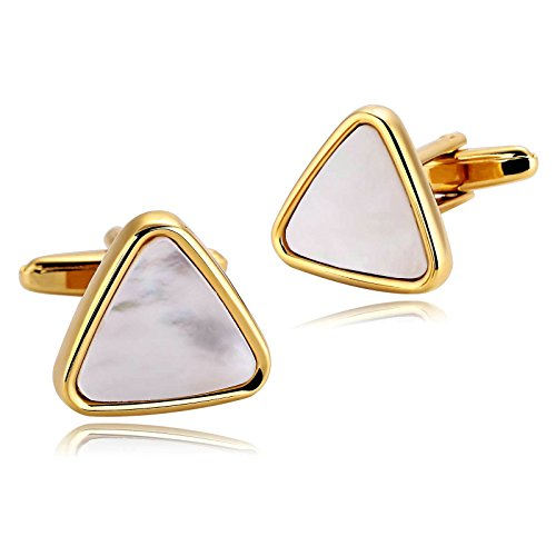 Adisaer Herren Edelstahl Manschettenknöpfe Gold Manschettenknopfe Dreieck Opal Hemd Anzug Manschetten Knöpfe Gothic Retro Geschenk Schmuck