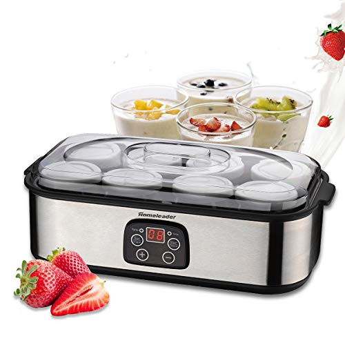 Homeleader Yogurt Maker, Automatic Digital Yogurt Maker with 8 BPA-Free Glass Jars and Lids (6oz...