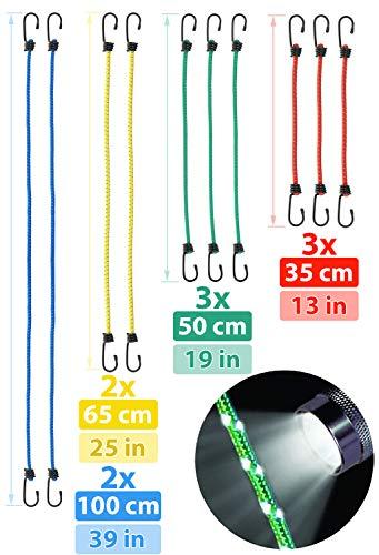 valonic Corde Elastiche con Ganci   Riflettente   Set di 10   200% di allungamento   Cavo Elastico con Ganci per Auto   per Portapacchi Bici