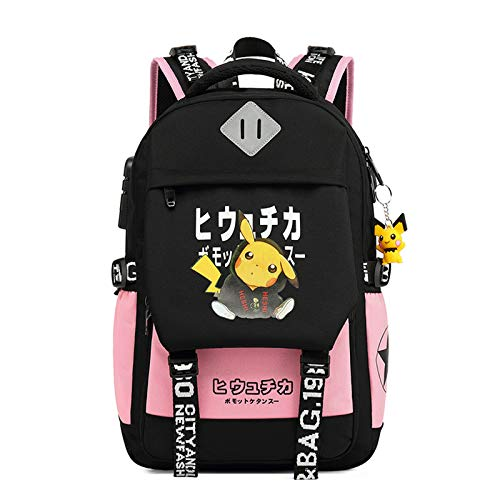 Fashionable Computer School Backpack with USB Port,Travel Business Work Backpack Cartoon Luminous Pattern Pikachu Backpack (Pink)