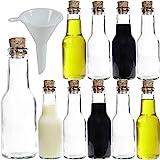 Viva Haushaltswaren - Juego de Botellas de Cristal pequeñas (con tapón de Corcho 10 Unidades 150 ml rellenables Incluye Embudo de 7 cm de diámetro)