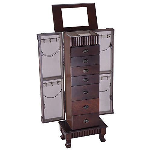 GOFLAME Jewelry Cabinet Armoire Freestanding with Top Mirror Wooden Jewelry Storage Organizer with 7 Drawers 2 Side Doors 12 Necklace Hooks Large Capacity Jewelry Armoire Walnut