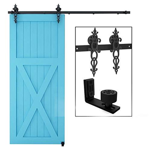 CCJH 13.6FT-416cm Schiebetuer Schiene Set Schiebetürbeschlag System Laufschiene Blütenform Roller Hanger Kit Mit Einstellbar Bodenführung Für eine Tür