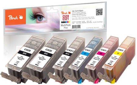 Peach Combi Pack Plus mit Chip, XL-Ergiebigkeit, kompatibel zu Canon CLI-521, 2xPGI-520
