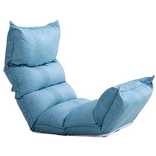 Dsrgwe Silla de Suelo Reclinable, Asiento de Piso con Respaldo Ajustable 5, Cama Plegable Respaldo Silla, Ideal como Acolchado del Juego, la meditación y la Lectura (Color : Blue)