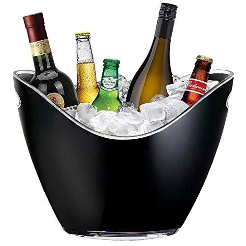 SMEJS Cubo de Hielo, acrílico Transparente, 8 litros Adecuado para Botellas de Vino o de champán. Cubo de Hielo (Color : Black)