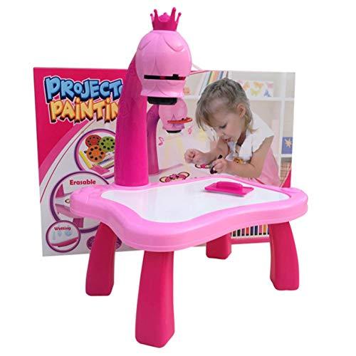 Timetided Escritorio de Aprendizaje para niños con proyector Inteligente, Mesa de Pintura para niños, Juguete con luz, Herramienta educativa para niños, Mesa de Dibujo