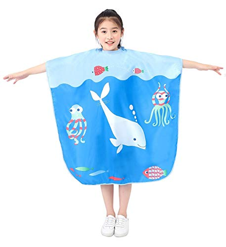 Barber Cape for Kids, Haircut Shampoo Cape for Child Toddler, Salon Hairdressing Cutting Apron Drape for Boys and Girls- Ocean World Pattern