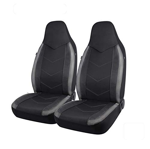PIC AUTO High Back Car Seat Covers - Sports Carbon Fibre Mesh Design, Universal Fit, Airbag Compatible (Gray)