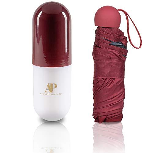 ADRIANO PORCARO® - Regenschirm - Taschenschirm - Mini Regenschirm – klein, leicht & kompakt - UV undurchlässig inkl. Schirm-Tasche & Reise-Etui (Weinrot)
