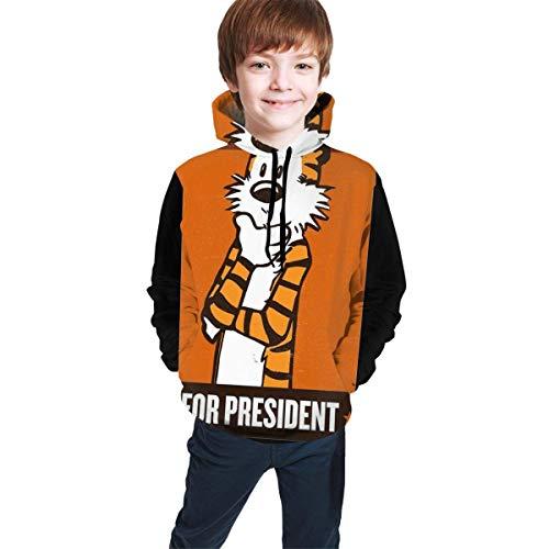 Hidend Sudaderas para Niña Niño,Sudadera con Capucha para Niños Calvin and Hobbes Fashion Suéter Encapuchado Adolescente Negro