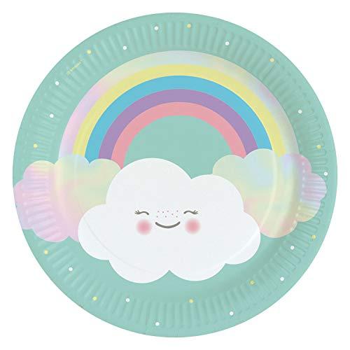 amscan 9904299 8 Papierteller Wolkenwelt, Mehrfarbig