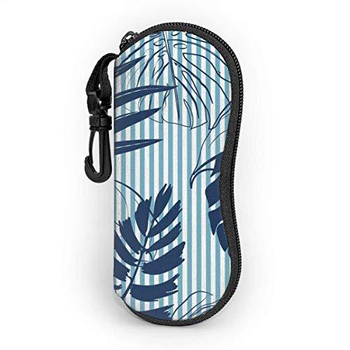 Hdadwy Gafas de sol Estuche blando Neopreno ultraligero Verano Azul marino Bosque tropical Hojas Bright Mood On Sky Blue Stripe Estuche para anteojos con cremallera y clip para cinturón